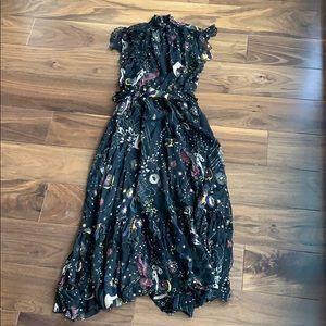 Black moon print midi Zara dress